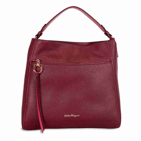 Ferragamo Ally Large Leather Hobo Bag - Opera