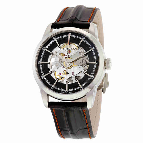 Hamilton Railroad Automatic Black Skeleton Dial Mens Watch H40655731