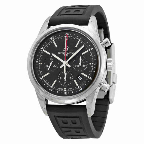 Breitling Transocean Chronograph GMT Black Dial Black Rubber Mens Watch AB045112-BC67BKPD3