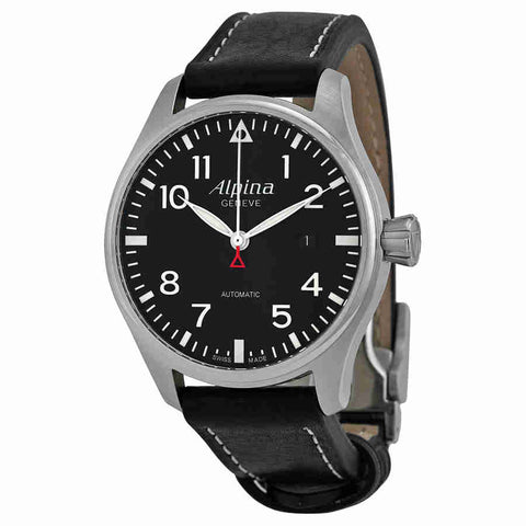 Alpina Startimer Pilot Black Dial Black Leather Strap Mens Watch AL525B4S6