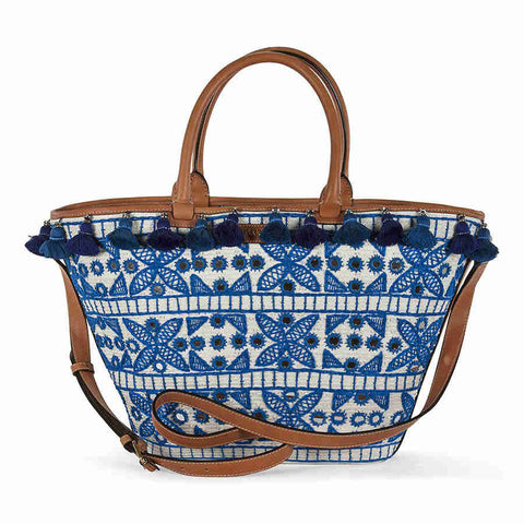 Emilio Pucci Blue Embroidered Leather Trim ToteLadies Shoulder Bag