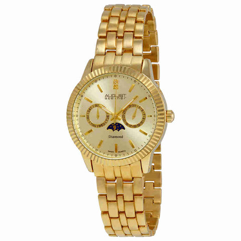 August Steiner Diamond Multi-Function Gold-Tone Mens Watch AS8050YG