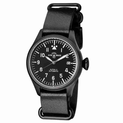 Air Blue Alpha A 41mm Automatic Black Dial Mens Watch ALPHAAPVD41