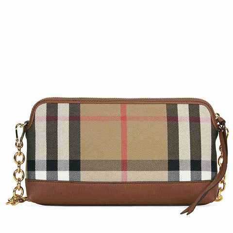 Burberry House Check and Leather Clutch - Tan