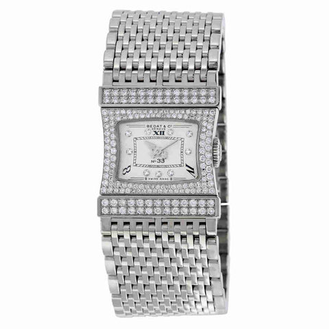 Bedat No. 33 Reverso Silver Dial 18kt White Gold Diamond Ladies Watch 338.533.109