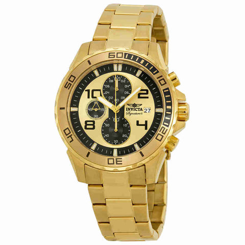 Invicta Signature II Chronograph Gold-tone Dial Mens Watch 7472