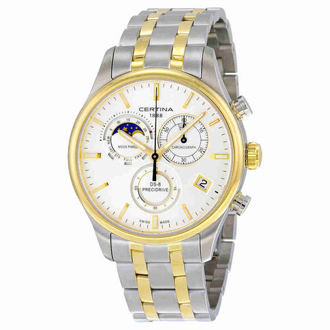Certina DS-8 Chrono Moonphase Silver Dial Two-tone Mens Watch C0334502203100