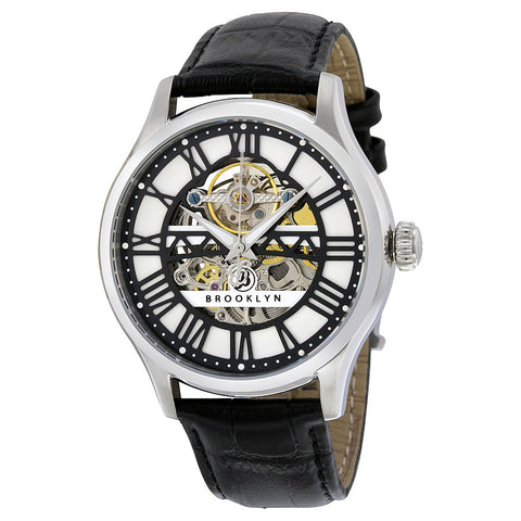 Brooklyn Bridgewater Skeleton Automatic Silver Dial Mens Watch 201-M1121