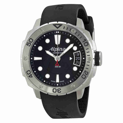 Alpina Adventure Diver Black Dial Black Rubber Mens Watch AL240LB3V6