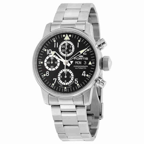 Fortis Flieger Classic Chronograph Black Dial Stainless Steel Automatic Mens Watch 597.20.71 M