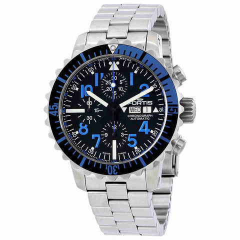 Fortis Marinemaster Chronograph Black Dial Mens Watch 671.15.45 M