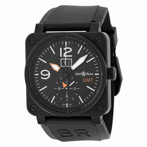Bell and Ross Aviation Black Dial Black Rubber Mens Watch BR0351-GMT-CA
