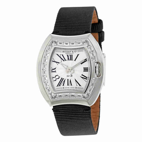 Bedat No. 3 White Dial Black Fabric Diamond Ladies Watch 324.550.100