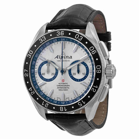 Alpina Alpiner 4 Chronograph Automatic Silver Dial Leather Mens Watch AL-860AD5AQ6