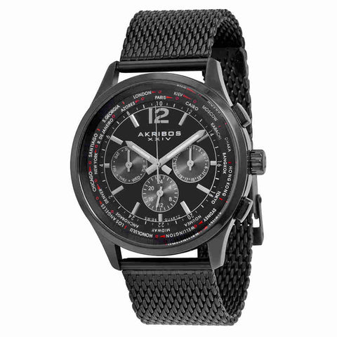 Akribos XXIV Multi-Function Black Dial Black Ion-plated Mesh Mens Watch AK716BK