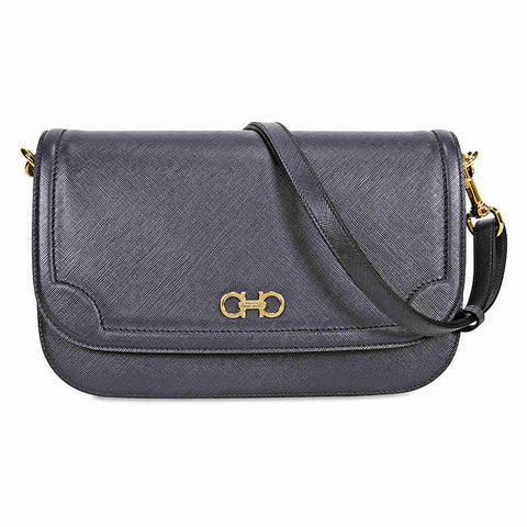 Ferragamo Large Double Gancio Leather Shoulder Bag - Fumee