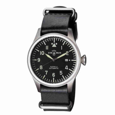 Air Blue Alpha A 41mm Automatic Black Dial Black Leather Mens Watch ALPHAASS41