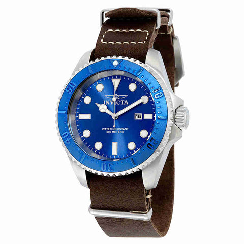 Invicta Pro Diver Blue Dial Brown Leather Mens Watch 17580