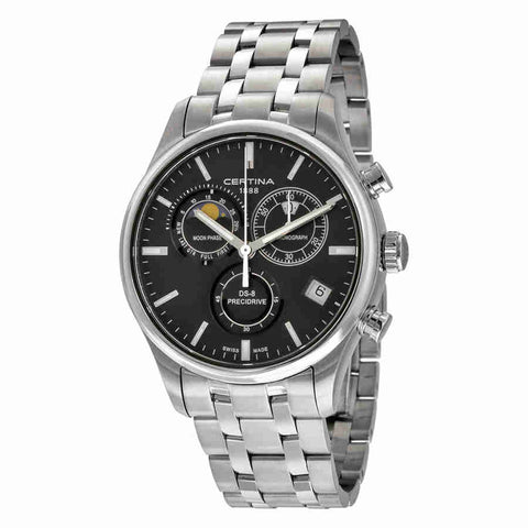 Certina DS 8 Chronograph Moonphase Black Dial Mens Watch C0334501105100