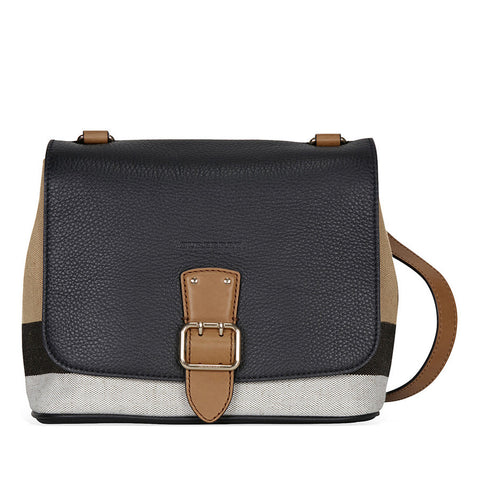 Burberry Canvas Check and Leather Crossbody - Black