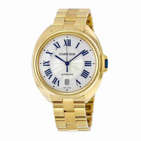 Cartier Cle Silvered Flinque Dial 18kt Yellow Gold Mens Watch WGCL0003