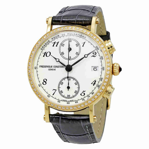 Frederique Constant Classics Chronograph White Dial Diamond Black Leather Ladies Watch FC-291A2RD5