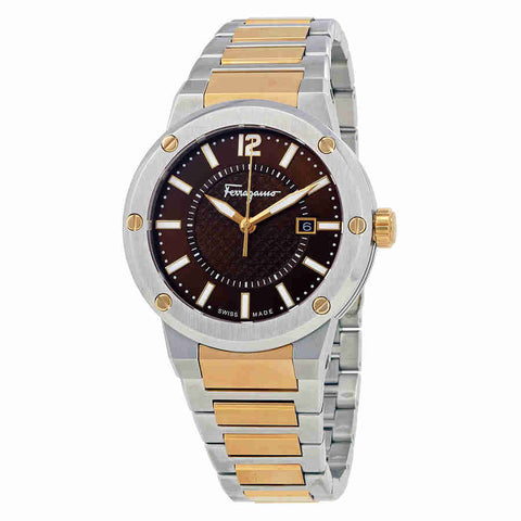Ferragamo F-80 Brown Dial Two-tone Mens Watch FIF040015