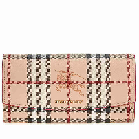 Burberry Haymarket Check Continental Wallet - Plum Pink