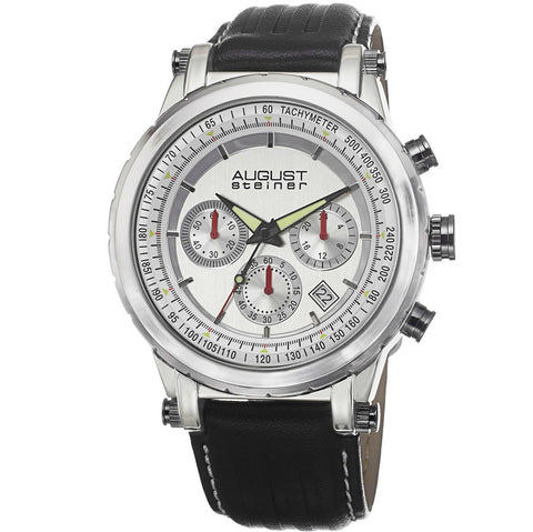 August Steiner Chronograph Silver Dial Mens Watch AS8085SS