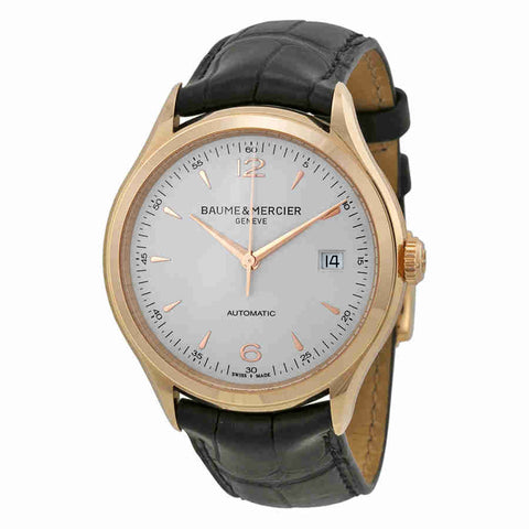 Baume and Mercier Clifton Silver Dial 18kt Rose Gold Mens Watch 10058