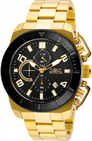 Invicta Pro Diver Black Dial Gold-Tone Mens Watch 23406