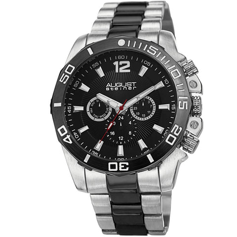 August Steiner Black Dial Two-tone Mens Watch AS8113TTB