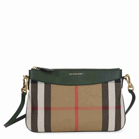 Burberry Horseferry Check Leather Clutch - Dark Bottle Green