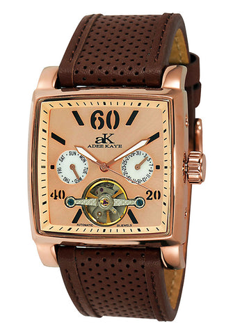 Adee Kaye Wall Street Automatic Rose Dial Mens Watch AK9043-MRG