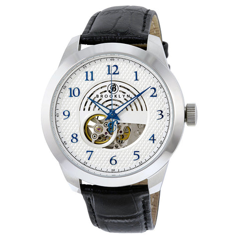 Brooklyn Carlton Skeleton Mens Automatic Silver Dial Mens Watch