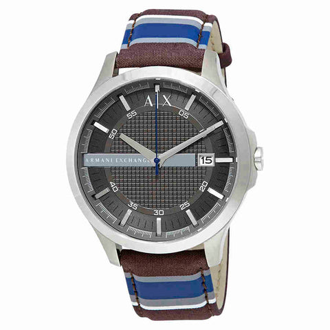 Armani Exchange Hampton Black Dial Mens Leather Watch AX2196