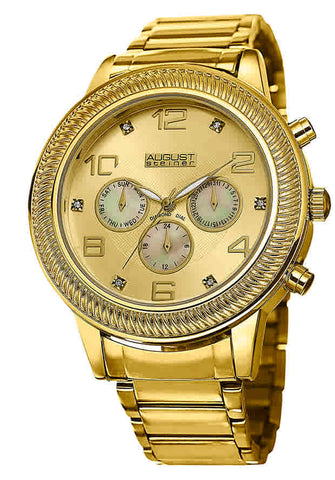 August Steiner Gold Dial Gold-tone Mens Watch AS8121YG