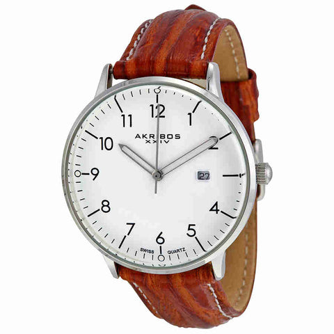 Akribos XXIV White Matte Dial Mens Watch AK715BR