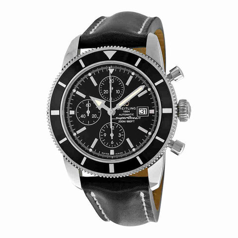 Breitling Superocean Heritage Chronograph Black Dial Black Leather Mens Watch A1332024-B908BKLD