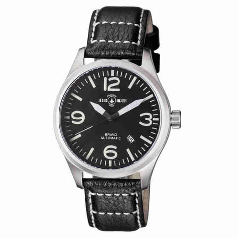 Air Blue Bravo Automatic Black Dial Mens Watch BRAVOAUTOSSBLK