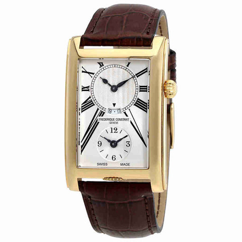Frederique Constant Carree Silver Dual Time Dial Mens Watch FC-205MS4C25
