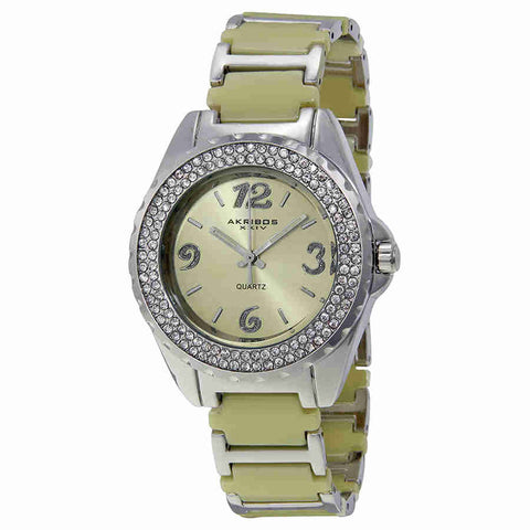 Akribos Beige Ceramic and Silver-tone Ladies Watch AK514BG