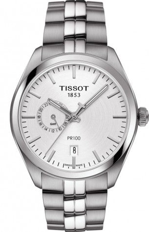 Tissot PR100 Dual Time Silver Dial Mens Watch T101.452.11.031.00