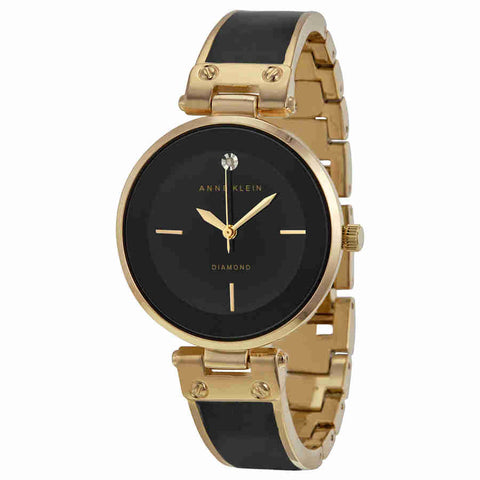 Anne Klein Black Dial Gold-tone and Black Resin Ladies Watch 1414BKGB