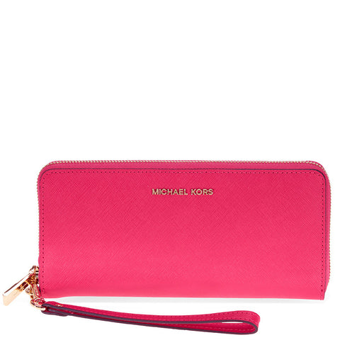 Michael Kors Jet Set Tavel Leather Continental Wallet - Ultra Pink