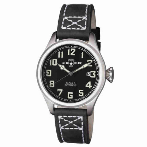 Air Blue Alpha C 41mm Automatic Black Dial Mens Watch ALPHACSS41