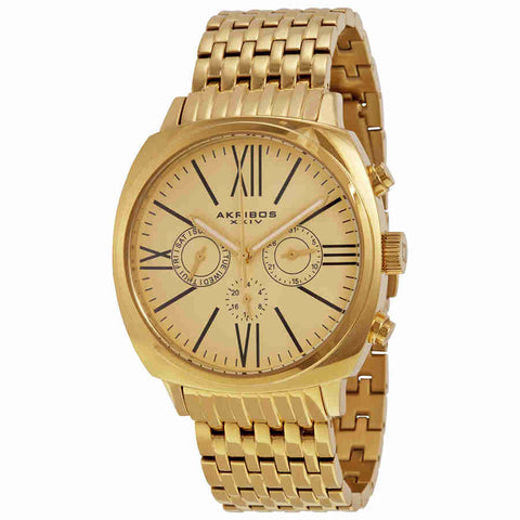 Akribos Champagne Dial Gold-tone Stainless Steel Mens Watch AK636YG