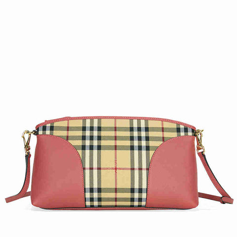 Burberry Horseferry Check and Leather Clutch - Honey/Antique Rose