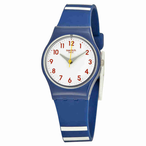 Swatch Matelot White Dial Blue Silicone Ladies Watch LN149