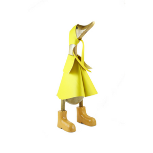 Medium Raincoat Duck - Natural Bamboo with Yellow raincoat and boots
